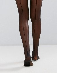 Gipsy French Back Seam Tights - Black