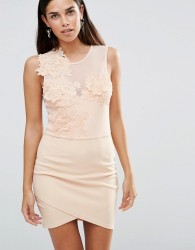Girl In Mind Aria Floral Mesh Bodycon Dress - Pink