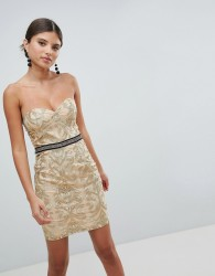Girl In Mind Bandeau Embroidered Mini Dress - Gold