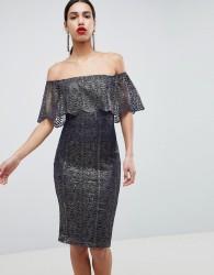 Girl In Mind Bardot Frill Midi Dress - Navy