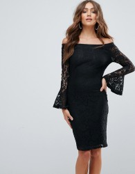 Girl In Mind Bardot Frill Sleeve Lace Dress - Black