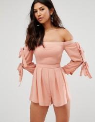 Girl In Mind Bardot Tie Sleeve Playsuit - Pink