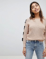 Girl In Mind Bow Arm Tie Jumper - Pink