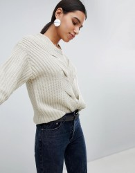 Girl In Mind Cable Front Detail Jumper - Stone