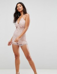Girl In Mind Crochet Lace Playsuit - Pink