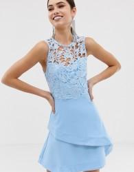 Girl In Mind crochet top skater dress - Blue