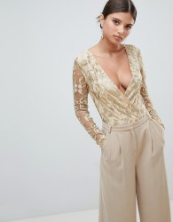 Girl In Mind Embroidered Wrap Bodysuit - Gold