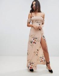 Girl In Mind floral bardot maxi dress - Beige