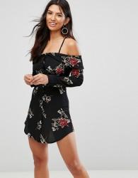 Girl In Mind Floral Cold Shoulder Swing Dress - Black