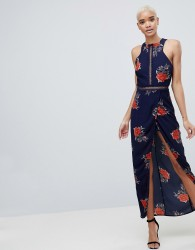 Girl In Mind Floral Open Back Wrap Maxi Dress - Navy