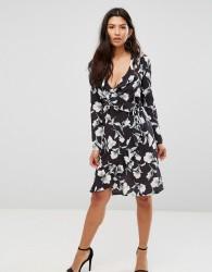 Girl In Mind Floral Wrap Over Dress - Black