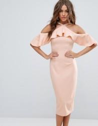Girl In Mind Halterneck Frill Cold Shoulder Midi Dress - Beige