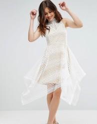 Girl In Mind High Neck Crochet Hanky Hem Skater Dress - White