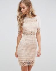 Girl In Mind High Neck Crochet Shift Dress - Beige