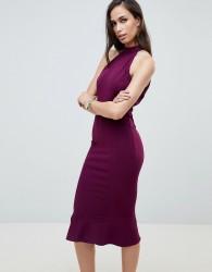 Girl In Mind high neck frill hem midi dress - Purple