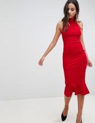 Girl In Mind high neck frill hem midi dress - Red