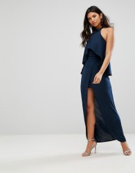 Girl In Mind High Neck Frill Maxi Dress - Navy