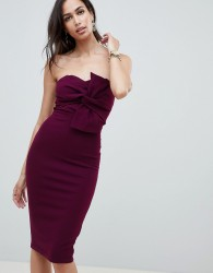 Girl In Mind knot front strapless midi dress - Purple