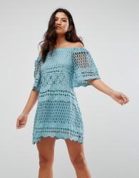 Girl In Mind Lace Bardot Style Swing Dress - Blue