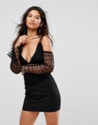 Girl In Mind Lace Cold Shoulder Mini Dress - Black