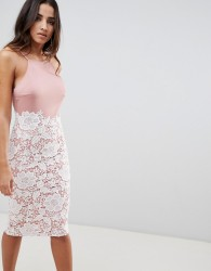 Girl In Mind lace low back midi dress - Pink