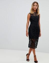 Girl In Mind lace tie back midi dress - Black