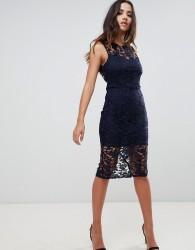 Girl In Mind lace tie back midi dress - Navy