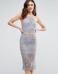 Girl In Mind Lexi Lace Strappy Midi Dress Grey - Grey