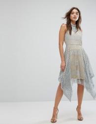 Girl In Mind Lola High Neck Crochet Hanky Hem Skater Dress Grey - Grey