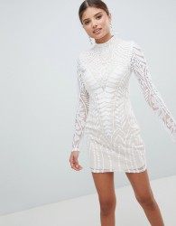 Girl In Mind Long Sleeve Lace High Neck Dress - Multi