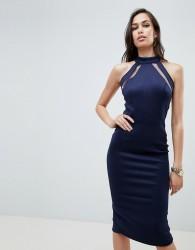Girl In Mind mesh panel bodycon midi dress - Navy