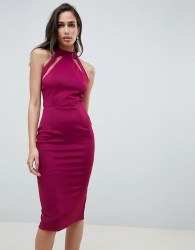 Girl In Mind mesh panel bodycon midi dress - Purple