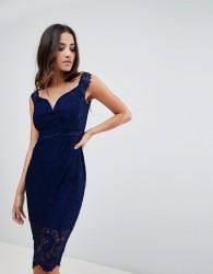 Girl In Mind off the shoulder lace dress - Navy