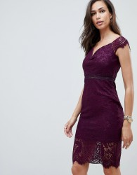 Girl In Mind off the shoulder lace dress - Purple