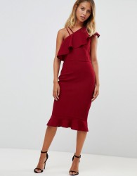 Girl In Mind one sholder frill midi dress - Red