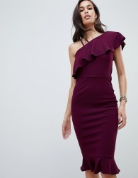 Girl In Mind one shoulder frill midi dress - Purple