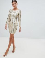 Girl In Mind Open Back Sequin Mini Dress - Gold