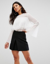 Girl In Mind Polka Frill Top - White