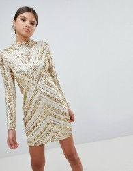 Girl In Mind Sequin Long Sleeve Mini Dress - Silver