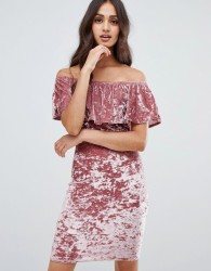 Girls on Film bardot frill bodycon dress in velvet - Pink