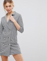 Girls on Film Blazer Dress in Dogtooth - Multi