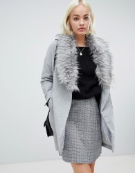 Girls on Film boyfriend coat with faux fur detail - Grey