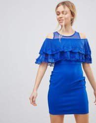 Girls on Film Cold Shoulder Midi Dress With Tipped Frill - Blue