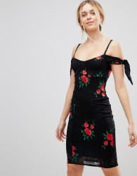 Girls on Film Embroidered Bardot Dress - Red