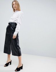 Girls On Film Faux Leather Culottes - Black
