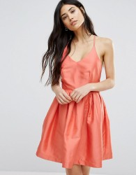 Girls On Film Fit And Flare Prom Dress - Orange