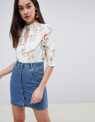 Girls on Film floral blouse with choker detail - Multi