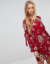 Girls On Film Floral Dress With Flare Tie Sleeve - Red