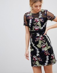 Girls on Film Floral Embroidered Mini Dress - Black
