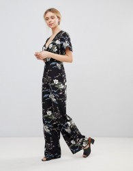 Girls on Film Floral Jumpsuit with Kimono Sleeves - Black